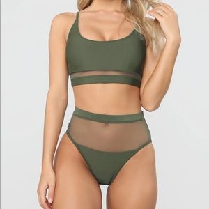 2 piece Bathing Suit Army Green and Black